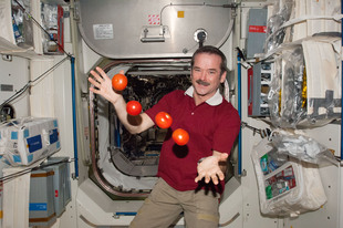 Full iss 34 chris hadfield juggles some tomatoes