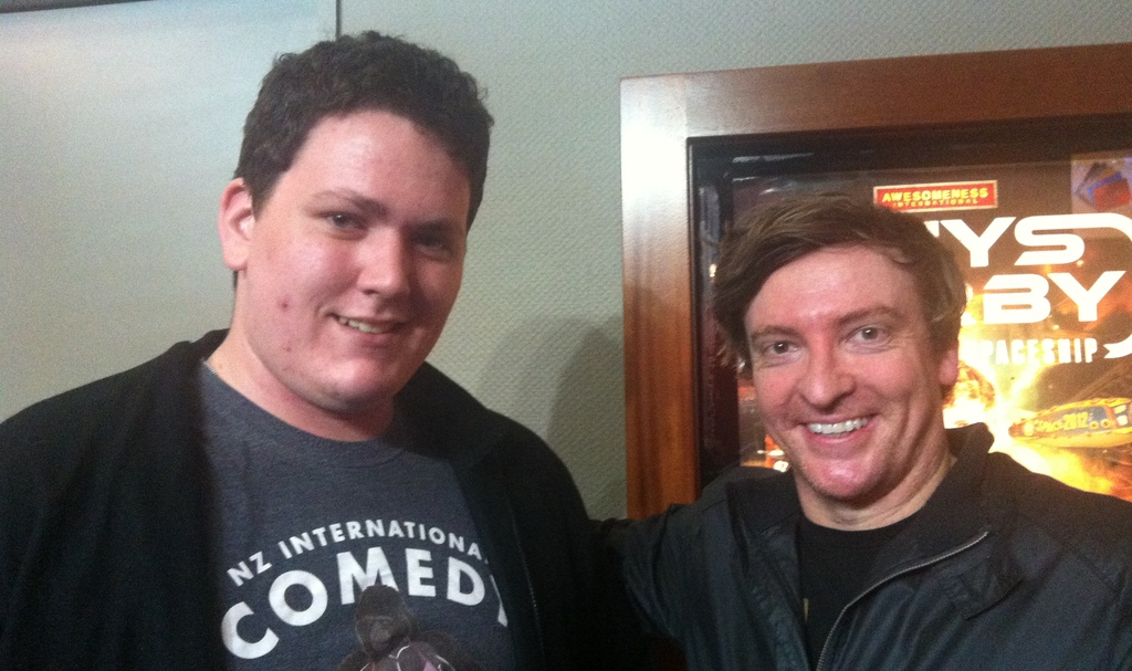 Hero rhys darby with fan yvan j drake at his nz show of this way to spaceship