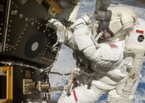 Thumb astronaut tom marshburn performs his first spacewalk