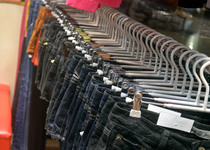 Thumb clothing rack of jeans