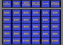 Thumb jeopardy game board