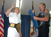 Thumb us navy 030817 n 8852w 001 petty officer first class richard sweet of warren  ohio  is reenlisted by diamond dallas page  three time world champion of world championship wrestling  wcw